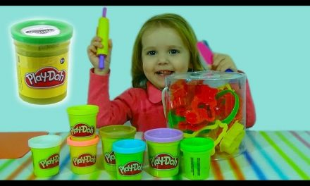 Лепим животных из Play Doh cat, rabbit, bird, a mouse, a triangle, a teddy bear Play-Doh