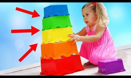 Funny Baby play and learn colors with colored Pyramid. Education video for Children and Toddlers