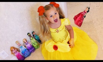 Diana plays Hide and Seek with Disney Princess Dolls Video for kids