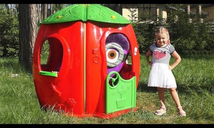 Diana Pretend Play with funny Minions and Playhouse for kids