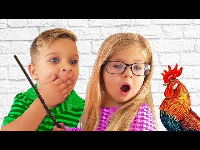 Roma and Diana Pretend Play school, funny video for kids