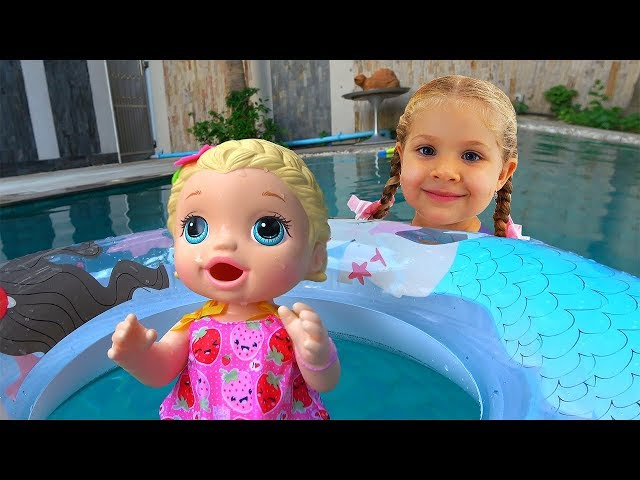 My super fun day with Baby Doll, Roma and Diana pretend play with toys for girls