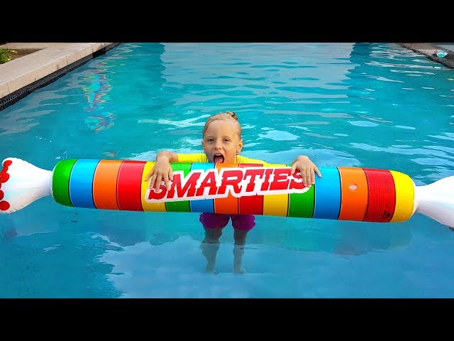 Real vs Inflatable / Fun pretend play with GIANT TOYS for swimming POOL / Funny story for kids