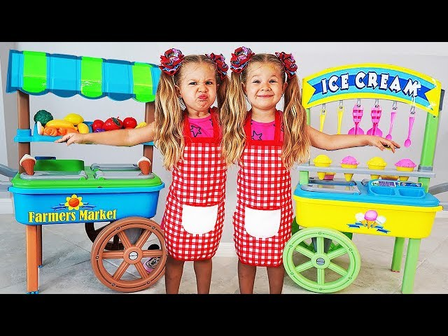 Diana playing with Ice Cream toys — a fun story for kids about twins
