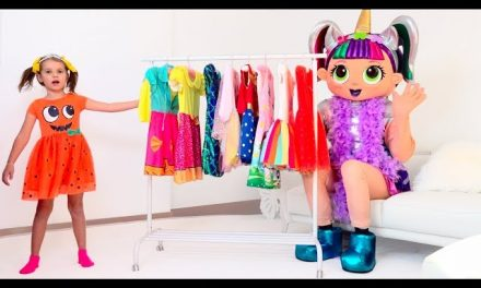 Katy pretend play with LOL dress-up party