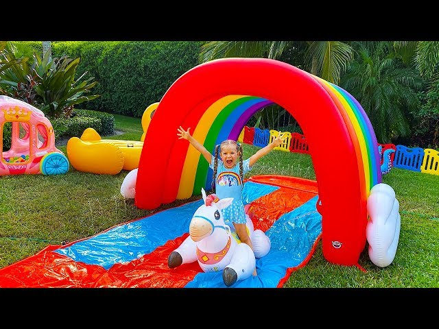 Diana and Roma Pretend Play with Fun Inflatable Toys