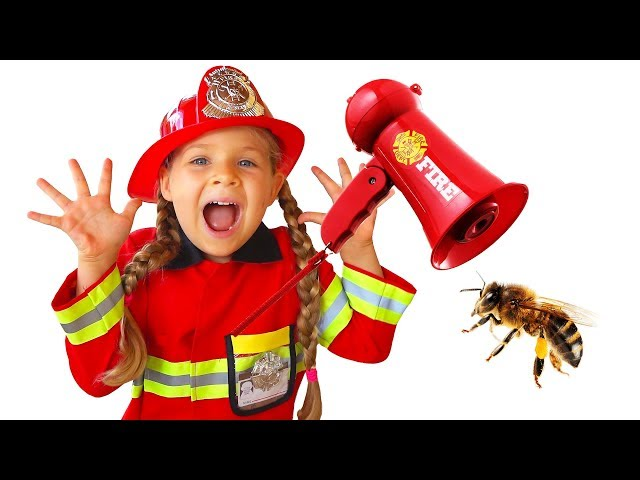 Diana Pretend Play Firefighter & Saves Dad