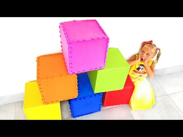 Kids open Boxes with toys