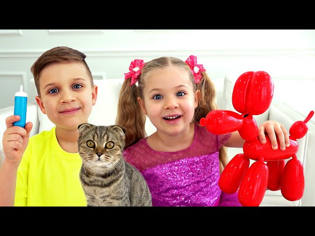 Diana and Roma take care of the cat and new dog balloon dog Squeakee