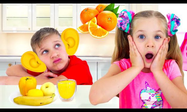 Roma and Diana learn colors with fruits and vegetables & how to count