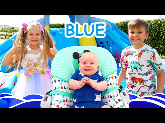 Roma and Diana learn colors with baby Oliver / Funny videos for kids
